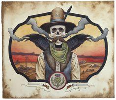 "Derek Nobbs // ""Ghost Town Drifter""  Watercolor, gouache, and ink"