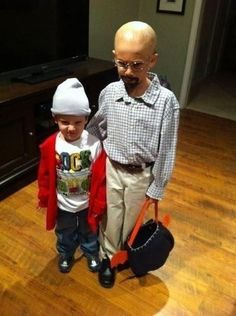 Kids dressed up as Walter White and Jesse Pinkman (Breaking Bad) - funny but disturbing, too.