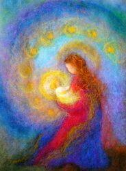 Cornelia Lauwaert copyright © 2013 - All rights reserved Maria mit Kind Catholic Art, Religious Art, Wet Felting, Needle Felting, Art Couple, Felt Pictures, Wool Art, Christmas Paintings, Angel Art