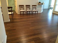 """Out with the old, in with the Honey Click Strand Bamboo! """"Replaced berber carpet and oak engineered flooring in the entry way, living room, dining room, kitchen and breakfast room."""" – Paul, TX http://www.lumberliquidators.com/ll/c/Handscraped-Honey-Strand-Click-Morning-Star-Click-PRQCHSBAMAJ/10033624"""