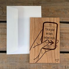 I Love You Card Wood Card Real Wood by MineByDesignStudio on Etsy