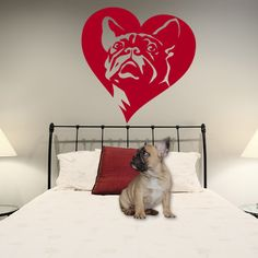 Dog Wall Decal French Bulldog, Love Frenchie, Vinyl Sticker Decal - Good for Walls, Cars, Ipads, Mirrors Etc by PSIAKREW on Etsy
