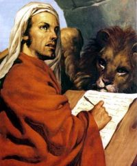 St. Mark, the author of the second Gospel, was the son of Mary whose house at Jerusalem was the meeting place of Christians. He was baptized and instructed by St. Peter. In about the year 42 A.D. he came to Rome with the Prince of the Apostles. There at the request of the faithful he wrote his
