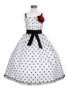 polka dot flower girl dress navy - wedding - Wedding &amp- Events ...
