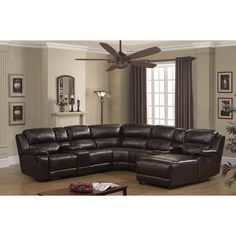 AC Pacific Colton Dark Brown Bonded Leather Recliner Sectional Sofa | Overstock.com Shopping - The Best Deals on Sectional Sofas