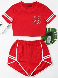 Lava Red Others Flat Elastic Mid Short Round Regular Casual Casual and Going Contrast Binding Notch Shorts Two Piece Set Cute Lazy Outfits, Cute Swag Outfits, Sporty Outfits, Summer Outfits, Pajama Outfits, Crop Top Outfits, Girls Fashion Clothes, Teen Fashion Outfits, Cute Pajama Sets