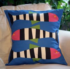 Zebra Fish Pillow Cover - Blue...easily done, with different colors for the boys' room