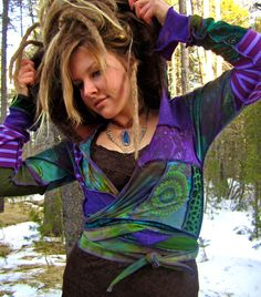 Festival Pixie Elf Wrap Top Tribal by IntergalacticApparel on Etsy.   My favorite vendor on Etsy. Many people place mental limits on how you can reuse old clothing. She really makes it into something new, and something I want.