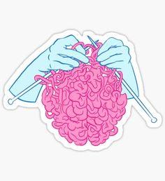 Pegatina Knitting a brain