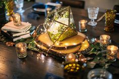 Ideas Wedding Reception Ideas Centerpieces Fairy Lights For 2019 - Modern Succulent Wedding Centerpieces, Terrarium Centerpiece, Lighted Centerpieces, Glass Terrarium, Mercury Glass Centerpiece, Succulent Terrarium, Woodsy Wedding, Wedding Table, Wedding Ideas