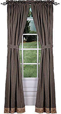 amazon com primitive home decors berry vine check curtain panels 63 rh pinterest com