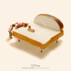 "3,429 Likes, 11 Comments - 田中達也 Tatsuya Tanaka (@tanaka_tatsuya) on Instagram: "". 8.20 sun ""Bread Bed"" . 「日曜ぐらい寝かせといてやるか」 「バブバブー(そうだねー)」 . #食パン #ベッド #親孝行 #PlainBread #Bed #食品サンプル…"""