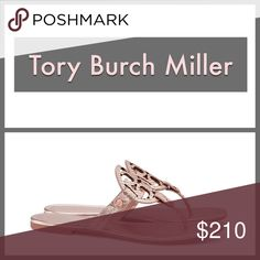 Tory Burch Miller Sandals Tory Burch Miller Sandals. NEW in box!  Metallic Snake Print Leather - Rose Gold Tory Burch Shoes Sandals