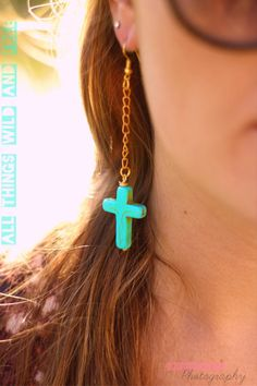 Turquoise Stone Cross Earrings with Dangle Chain from allthingswildandfree on Etsy. Saved to My Accessories. Cross Earrings, Turquoise Stone, Jewlery, Dangles, Jewelry Making, Chain, Trending Outfits, My Style, Fashion Fashion