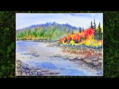 Autumn in Maine Landscape Watercolor REAL TIME Tutorial - YouTube