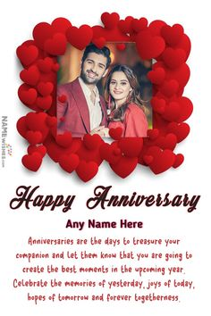 Hearts Love Anniversary Photo Frame Wish with Name Edit Online. Wish Wedding anniversary to your loved ones in special unique way. Send them these free online photo frames as anniversary gift digitally free online. Happy Marriage Anniversary Cake, Happy Anniversary Photos, Anniversary Cake With Photo, Happy Wedding Anniversary Wishes, Anniversary Greetings, Love Anniversary, Birthday Wishes Quotes, Happy Birthday Wishes, Anniversary Cards