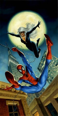 Spider-Man and Black Cat painting by Joe Jusko. This was a cover for a novel. Much more art like this on Joe's deviantart pages. #joejusko #blackcat #comicart