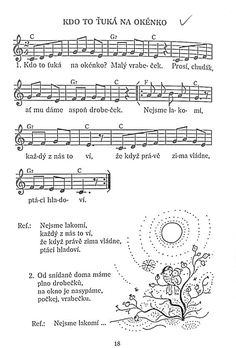 Ptáčci v zimě Elementary Music, Music Notes, Sheet Music, Birds, Songs, School, Winter, Palmas, Musica