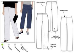 Peta Pant Sewing Pattern By Style Arc - Great pull on pant with beautiful leg shape Pdf Sewing Patterns, Clothing Patterns, Sewing Pants, Dress Making Patterns, Elastic Waist Pants, Pull On Pants, Pants Pattern, Fashion Sewing, Linen Pants