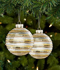 We Three Blings Collection Glitter Striped Ball Ornament Set