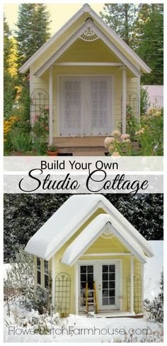 DIY Backyard Garden Cottage Studio or Shed, FlowerPatchFarmhouse.com Build your own fabulous place to create, link to step by step plans in post #Buildyourownshed