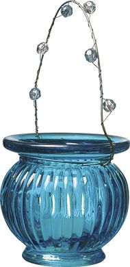 Turquoise Blue Hanging Candle Holder and Vase (ribbed design)