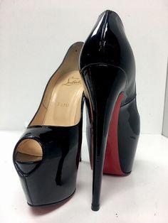 8a370a438ac1 Louboutin Shoe Black Patent Double Platform Peep Toe New Size 38 1 2