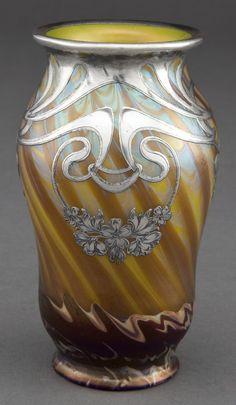 Loetz  Iridescent Vase With Silver Overlay - 1900.