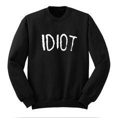 Idiot Sweatshirt Michael Clifford 5 Sos Sweat Shirt Band Shirt Crew... ($24) ❤ liked on Polyvore featuring tops, hoodies, sweatshirts, shirts, sweaters, black, women's clothing, long black shirt, black crewneck sweatshirt and sweat shirts