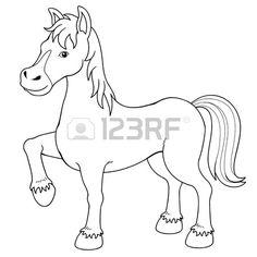Ilustración de un libro para colorear caballo. Foto de archivo.