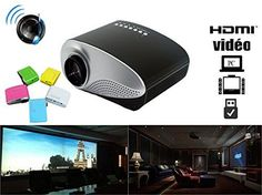 Portable Mini Projector LCD LED Portable HD Home Theater 60 lumens 320 480 VGA HDMI AV USB SD manual focus for film theatre house with builtin speaker Blue *** Want to know more, click on the image.