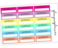 Workout Boxes, 18 Planner Stickers