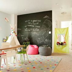 love the chalkboard wall
