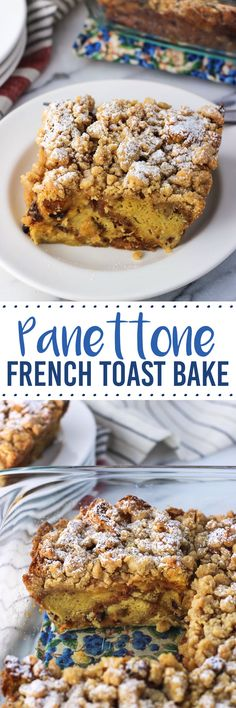 Panettone French Toast Bake with Crumb Topping is a perfect holiday breakfast or brunch! This easy recipe doesn't require an overnight soak or individual french toast flipping.