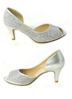cc37053f915 WOMENS LADIES WEDDING DIAMANTE PROM LOW MID HIGH HEEL BRIDAL COURT SHOES  SIZE  Amazon.co.uk  Shoes   Bags