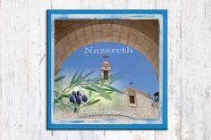 Christian Art Print, Nazareth Art, Holy Land Landscape, Israeli Art, Church Art, Living Room Art, Canvas Art Print, Home Decor, 8'' x 8''