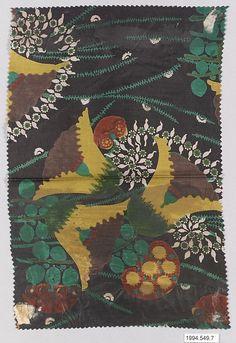 """Samtente"" Textile Sample  Designer:Lotte Frömel-Fochler (Austrian, 1884–1972) Manufacturer:Wiener Werkstätte Date:1910–11 Medium:Silk Dimensions:H. 11, W. 7-1/4 inches (27.9 x 18.4 cm.) Classification:Textiles-Printed"