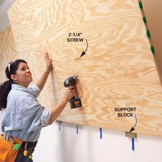 It begins with a layer of plywood fastened over drywall or bare studs. Then you just screw on a variety of hooks, hangers, shelves and baskets to suit your studs. And because you can place hard- ware wherever you want (not only at studs), you can arrange items close together to make the most of your wall space.