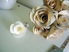White Flower with Printed Leaf.  Cute Idea for table decoration
