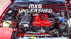 Cold side Supercharged Miata Fast Forward Supercharger with pulley running 18 PSI non-intercooled at 312 BHP and 231 ft-lb torque. Mazda Miata, Repair Shop, Mk1, Cars, Engine, Passion, Awesome, Youtube, Ideas