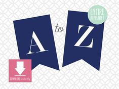 Printable Pennant Banner that includes entire alphabet: Navy