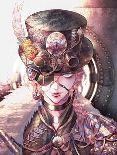 Image in Boy, Male, Men Art. Chat Steampunk, Steampunk Drawing, Steampunk Kunst, Steampunk Artwork, Steampunk Pirate, Style Steampunk, Steampunk Characters, Fantasy Characters, Anime Characters