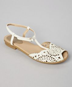 Look what I found on #zulily! White Leather Gisselle Sandal #zulilyfinds