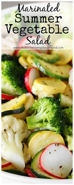 Marinated Summer Vegetable Salad ~ Zucchini, yellow summer squash, broccoli, cauliflower, fresh mushrooms, & radishes in a lemony dressing marinade. It's sure one flavor-packed way to enjoy your vegetables!  www.thekitchenismyplayground.com