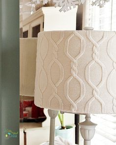 Bring a cozy wintery feel into your decor with this DIY sweater covered lampshade project