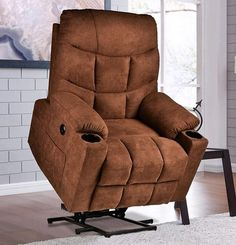 RELAXIXI Power Lift Recliner Chair, Electric Recliners for Elderly, Heated Vibration Massage Sofa with USB Ports, Remote Control, 3 Positions, 2 Side Pockets and Cup Holders (Fabric, Chocolate) Lift Recliners, Arc Floor Lamps, Furniture Direct, Modern Area Rugs, Diy Chair, Cup Holders, Chairs For Sale, Sleeper Sofa, Chair Pads