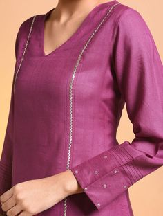 Pink Embroidered Silk Cotton Kurta - All About Plain Kurti Designs, Silk Kurti Designs, Churidar Designs, Kurta Designs Women, Kurti Designs Party Wear, Blouse Designs, Salwar Neck Designs, Kurti Sleeves Design, Sleeves Designs For Dresses