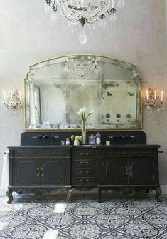 Seeking ideas for your bathroom design? STOP RIGHT HERE for Antique Vintage Style Bathroom Vanity Inspiration and photos of lovely interior design bliss. Baños Shabby Chic, Beautiful Bathrooms, Romantic Bathrooms, Bathroom Inspiration, Bathroom Ideas, Bathroom Renovations, Bathroom Interior, Bathroom Colors, Bathroom Designs