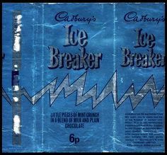 UK - Cadbury's Ice Breaker - foil candy bar wrapper - by JasonLiebig, via… Old Sweets, Vintage Sweets, Retro Sweets, Chocolate Bar Wrappers, Candy Bar Wrappers, Sweet Wrappers, British Sweets, Dark Chocolate Bar, Ice Breakers