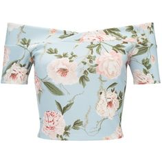 Miss Selfridge Blue Floral Bardot Crop Top (£28) ❤ liked on Polyvore featuring tops, crop tops, shirts, crop, blouses, assorted, crop top, blue top, blue shirt and polyester shirt